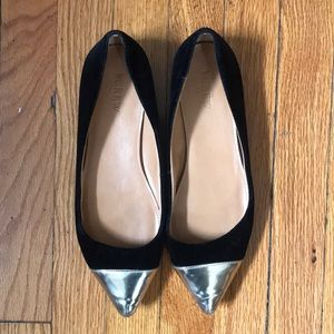 J crew velvet and gold leather pointy flats 8.5